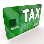 image of irs  - Tax On Credit Debit Card Showing Taxes Return IRS - JPG