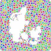 Isolated Map of Denmark - Europe -