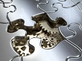 picture of gear wheels  - Very high resolution rendering of a puzzle with gear wheels - JPG