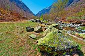 stock photo of italian alps  - Mountain Stream in the Italian Alps Piedmont - JPG
