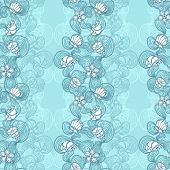 Seamless abstract marine lace blue background