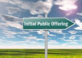 pic of initials  - Signpost Image Illustration with Initial Public Offering wording - JPG