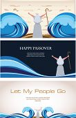 stock photo of torah  - Three Banners of Passover Jewish Holiday  - JPG