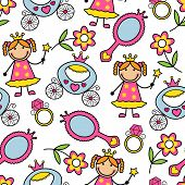 Cartoon seamless pattern with princess and her belongings