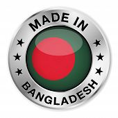 stock photo of bangladesh  - Made in Bangladesh silver badge and icon with central glossy Bangladeshi flag symbol and stars - JPG
