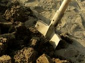 shovel in the ploughed ground