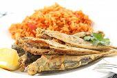Fried Atlantic horse mackerel with tomato rice-portuguese traditional food