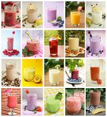 Collage showing differents drink like smoothies, milk and juices