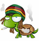 foto of reggae  - crazy jamaican tortoise cartoon on white background - JPG