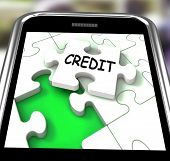 Credit Smartphone Means Loans Financing  Or Borrowed Money
