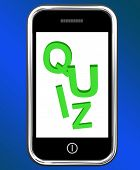 stock photo of quiz  - Quiz On Phone Meaning Test Quizzes Or Questions Online - JPG