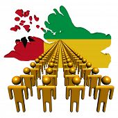 Lines of people with Guinea Bissau map flag illustration
