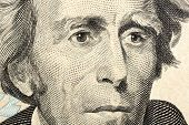 stock photo of twenty dollars  - Portrait of Jackson macro from one twenty dollars bill - JPG