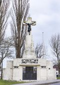 picture of calvary  - Calvary statue as World War I memorial in Diksmuide near Ypres along the Yser River - JPG