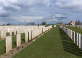 Rows Of Tombs At Bard Cottage Cemetery In Ypres, Flanders, Belgium - Landscape.