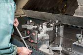 Industrial Metal Chuck Installing/setting. Metalworking.