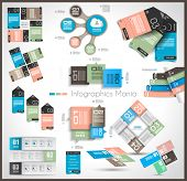 Timeline and  Infographics design templates with paper tags. Idea to display information, ranking an