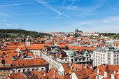 View of Stare Mesto (Old City) and and St. Vitus Cathedral from Town Hall. Prague, Czech Republic