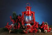 pic of kerosene lamp  - Red kerosene lamp on dark color background - JPG