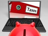 Taxes Laptop Means Paying Due Tax Online