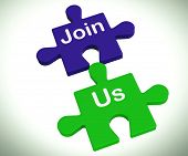 Join Us Puzzle Means Register Or Become A Member