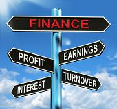 Finance Signpost Shows Profit Earnings Interest And Turnover