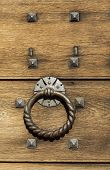 Old Wooden Background With Metal Rivets And Door Knocker