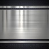 pic of alloys  - Metal plate on metal mesh background or texture - JPG