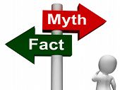 Fact Myth Signpost Shows Facts Or Mythology