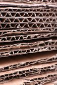 Stack of cardboard for recycling close-up