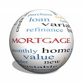 image of amortization  - Mortgage 3D sphere Word Cloud Concept with great terms such as loan home banker and more - JPG