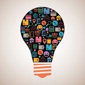 Online shopping creative light bulb