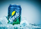 MOSCOW, RUSSIA-APRIL 4, 2014: Can of Coca Cola company soft drink Sprite on ice. It was introduced i