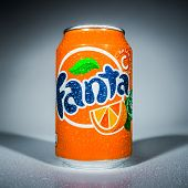MOSCOW, RUSSIA-APRIL 4, 2014: Can of Coca Cola company soft drink Fanta Orange. Fanta is a global brand of fruit-flavored carbonated soft drinks created by The Coca-Cola Company.