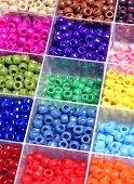 picture of beads  - Closeup of beads in bins separated for making crafts jewelry - JPG