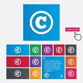 Copyright sign icon. Copyright button.