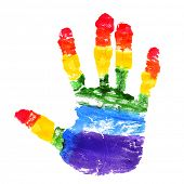 stock photo of transgendered  - a handprint with the colors of the rainbow flag on a white background - JPG