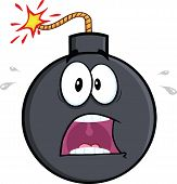 Scared Bomb Cartoon Character