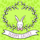 picture of centerpiece  - White elegant bunny in willow wreath spring holiday Easter centerpiece illustration with flag banner with wishes in English on light green patterned background