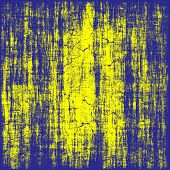 Grungy Yellow And Blue Destroyed Texture As Abstract Background.
