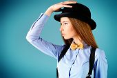 picture of bow tie hair  - Elegant girl model poses in blouse - JPG