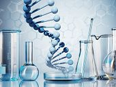 picture of beaker  - Laboratory glassware on color background - JPG