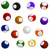 Billiard balls set sixteen balls in different positions vector illustration