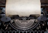 old retro typewriter with paper