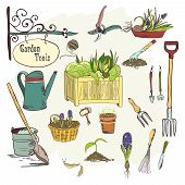 stock photo of hoe  - Hand drawn sef of gardening tools for plants flowers farming and agriculture vector illustration - JPG