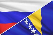 Series Of Ruffled Flags. Russia And Bosnia And Herzegovina.