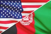 Series Of Ruffled Flags. Usa And Afghanistan.