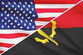 Series Of Ruffled Flags. Usa And Angola.