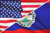 Series Of Ruffled Flags. Usa And Belize.