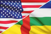 Series Of Ruffled Flags. Usa And Central African Republic.